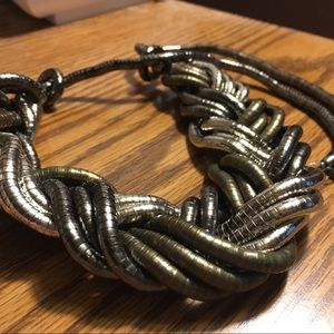 Vtg Silver Braided Snake Chain Necklace
